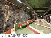Купить «Interior of Kungstradgarden, station of Stockholm metro. Швеция», фото № 29751637, снято 9 июля 2018 г. (c) Валерия Попова / Фотобанк Лори