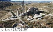Купить «Closed thermal power plant in the village of Escucha. Spain», видеоролик № 29752301, снято 26 декабря 2018 г. (c) Яков Филимонов / Фотобанк Лори