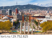 Купить «View of the Plaza de espana from mountain Montjuic, Catalonia, Spain», фото № 29752825, снято 5 апреля 2018 г. (c) Наталья Волкова / Фотобанк Лори