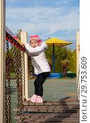 Купить «Child on the playground on a sunny bright day», фото № 29753609, снято 22 апреля 2019 г. (c) Светлана Кузнецова / Фотобанк Лори