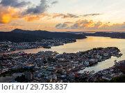 Купить «Bergen City, Scenic Aerial View Panorama harbour Cityscape under Dramatic Sky at sunset summer from Top of Mount Floyen Glass Balcony Viewpoint mountain», фото № 29753837, снято 28 июля 2017 г. (c) Алексей Ширманов / Фотобанк Лори