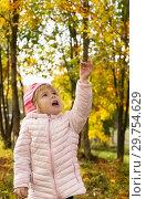 Купить «Little girl walk in autumn forest», фото № 29754629, снято 22 апреля 2019 г. (c) Светлана Кузнецова / Фотобанк Лори