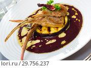 Купить «Lamb ribs with aubergine and wine sauce», фото № 29756237, снято 23 января 2019 г. (c) Яков Филимонов / Фотобанк Лори