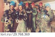 Купить «Portrait of people who are ready for paintball», фото № 29768369, снято 10 июля 2017 г. (c) Яков Филимонов / Фотобанк Лори
