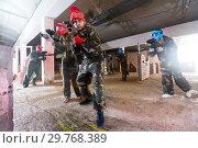 Купить «Two in red masks are ready for attack», фото № 29768389, снято 10 июля 2017 г. (c) Яков Филимонов / Фотобанк Лори