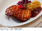 Купить «Duck breast with pickled cabbage and rosemary», фото № 29768661, снято 18 июня 2019 г. (c) Яков Филимонов / Фотобанк Лори