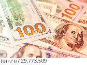 Купить «Dollars bills background. Close up cash money.», фото № 29773509, снято 20 января 2019 г. (c) bashta / Фотобанк Лори