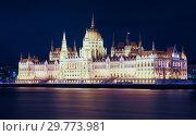 Купить «Night view of Parliament of Budapest», фото № 29773981, снято 27 октября 2017 г. (c) Яков Филимонов / Фотобанк Лори