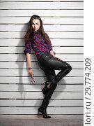 Купить «Attractive young brunette posing standing.», фото № 29774209, снято 26 апреля 2016 г. (c) Сергей Сухоруков / Фотобанк Лори