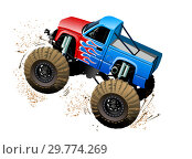 Купить «Cartoon Monster Truck isolated on white background», иллюстрация № 29774269 (c) Александр Володин / Фотобанк Лори