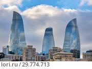 Flame Towers, Baku, Azerbaijan. Стоковое фото, фотограф Fabrizio Troiani / age Fotostock / Фотобанк Лори