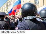 Купить «Opposition protest rally ahead of President Vladimir Putin's inauguration ceremony», фото № 29779645, снято 5 мая 2018 г. (c) FotograFF / Фотобанк Лори
