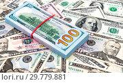 Купить «Heap of one hundred american dollar banknotes over money background», фото № 29779881, снято 7 января 2017 г. (c) FotograFF / Фотобанк Лори