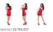 Купить «Woman in red dress singing songs», фото № 29784837, снято 30 января 2013 г. (c) Elnur / Фотобанк Лори