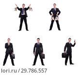 Купить «Businessman with money sacks, briefcase and handgun», фото № 29786557, снято 22 марта 2019 г. (c) Elnur / Фотобанк Лори