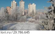 Купить «Moving down over winter city of Moscow, Russia», видеоролик № 29786645, снято 16 июня 2019 г. (c) Володина Ольга / Фотобанк Лори