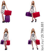 Купить «Beautiful woman in polka dot dress with suitcases isolated on wh», фото № 29786881, снято 25 февраля 2020 г. (c) Elnur / Фотобанк Лори