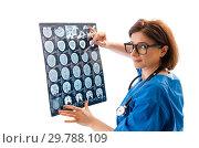 Купить «Female doctor radiologist isolated on white», фото № 29788109, снято 31 октября 2018 г. (c) Elnur / Фотобанк Лори