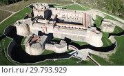 Купить «Aerial view of impressive medieval Catalan Fort de Salses in French commune of Salses-le-Chateau», видеоролик № 29793929, снято 3 января 2019 г. (c) Яков Филимонов / Фотобанк Лори
