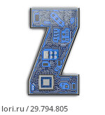Купить «Letter Z. Alphabet in circuit board style. Digital hi-tech letter isolated on white.», фото № 29794805, снято 8 декабря 2019 г. (c) Maksym Yemelyanov / Фотобанк Лори