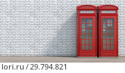 Купить «Red phone booth on brick wall background. London, british and english symbol.», фото № 29794821, снято 22 марта 2019 г. (c) Maksym Yemelyanov / Фотобанк Лори