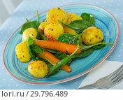 Купить «Baked new potatoes with spinach», фото № 29796489, снято 22 апреля 2019 г. (c) Яков Филимонов / Фотобанк Лори