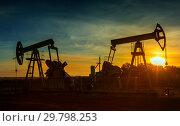 Купить «Two working oil pumps silhouette», фото № 29798253, снято 9 октября 2017 г. (c) Михаил Коханчиков / Фотобанк Лори