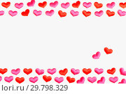 Купить «St Valentines day background. Red and pink hearts on the white wooden background, free space for text», фото № 29798329, снято 21 января 2018 г. (c) Зезелина Марина / Фотобанк Лори