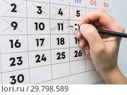 Купить «Рука карандашом пишет в настенном календаре слово отпуск», фото № 29798589, снято 28 января 2019 г. (c) Иванов Алексей / Фотобанк Лори