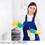 Купить «Female cleaner at work», фото № 29798657, снято 21 февраля 2019 г. (c) Яков Филимонов / Фотобанк Лори