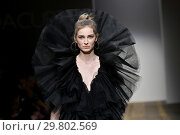 Купить «Model on the catwalk showing creations by the fashion designer Giada Curti. AltaRoma Fashion Week, Rome, Italy - 25 Jan 2019.», фото № 29802569, снято 25 января 2019 г. (c) age Fotostock / Фотобанк Лори