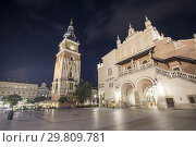 Купить «KRAKOW POLAND ON SEPTEMBER 25, 2018: The market square by dusk.», фото № 29809781, снято 25 сентября 2018 г. (c) age Fotostock / Фотобанк Лори