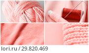 Купить «needlework collage in living coral color», фото № 29820469, снято 21 июля 2019 г. (c) Syda Productions / Фотобанк Лори