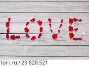 Купить «word love made of red rose petals», фото № 29820521, снято 8 февраля 2018 г. (c) Syda Productions / Фотобанк Лори