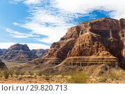 Купить «view of grand canyon cliffs and desert», фото № 29820713, снято 1 марта 2018 г. (c) Syda Productions / Фотобанк Лори
