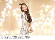 Купить «happy young woman or girl in party dress and crown», фото № 29820789, снято 31 октября 2015 г. (c) Syda Productions / Фотобанк Лори