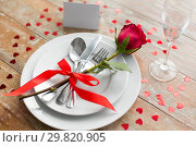 Купить «close up of table setting for valentines day», фото № 29820905, снято 9 февраля 2018 г. (c) Syda Productions / Фотобанк Лори