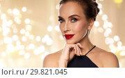 Купить «close up of beautiful woman with red lipstick», фото № 29821045, снято 14 апреля 2016 г. (c) Syda Productions / Фотобанк Лори