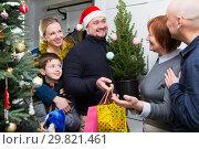 Family gathering for Christmas eve at mother home. Стоковое фото, фотограф Яков Филимонов / Фотобанк Лори