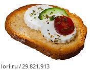 Купить «Close up image of canape with young cheese», фото № 29821913, снято 23 марта 2019 г. (c) Яков Филимонов / Фотобанк Лори