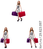 Купить «Beautiful woman in polka dot dress with suitcases isolated on wh», фото № 29823097, снято 25 февраля 2020 г. (c) Elnur / Фотобанк Лори