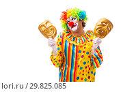 Купить «Male clown isolated on white», фото № 29825085, снято 28 сентября 2018 г. (c) Elnur / Фотобанк Лори