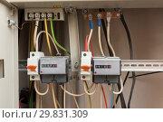 Купить «Два электронных электрических счетчика», фото № 29831309, снято 27 января 2019 г. (c) Иванов Алексей / Фотобанк Лори