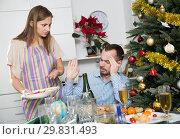Купить «Woman quarreling with drunk husband», фото № 29831493, снято 15 января 2019 г. (c) Яков Филимонов / Фотобанк Лори