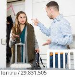 Купить «Couple quarreling because of trip of wife», фото № 29831505, снято 15 января 2019 г. (c) Яков Филимонов / Фотобанк Лори