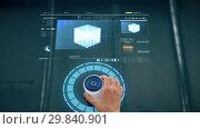 Купить «hand using virtual screen with projection», видеоролик № 29840901, снято 25 марта 2019 г. (c) Syda Productions / Фотобанк Лори
