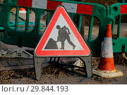 Купить «Road work signs at road works in Southwark. Featuring: View Where: London, United Kingdom When: 26 Jan 2018 Credit: WENN.com», фото № 29844193, снято 26 января 2018 г. (c) age Fotostock / Фотобанк Лори