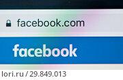 Купить «Логотип Facebook на экране смартфона крупным планом», фото № 29849013, снято 1 февраля 2019 г. (c) Екатерина Овсянникова / Фотобанк Лори