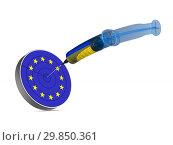 Купить «flag EU and ukraine on white background. Isolated 3D illustration», иллюстрация № 29850361 (c) Ильин Сергей / Фотобанк Лори