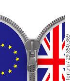 Купить «flag EU and Great Britain and zipper. 3D illustration», иллюстрация № 29850369 (c) Ильин Сергей / Фотобанк Лори